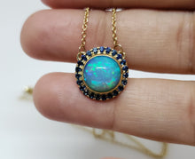 Load image into Gallery viewer, Blue Opal & Sapphire Pendant 14k Gold Necklace #162
