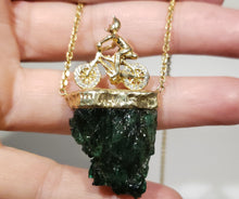 Load image into Gallery viewer, Carved Emerald & Diamond Bicycle Pendant - 14k Gold #167