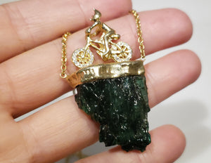 Carved Emerald & Diamond Bicycle Pendant - 14k Gold #167