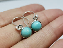 Load image into Gallery viewer, Turquoise Round Dangle Earrings- Sterling Silver  - Joy#183