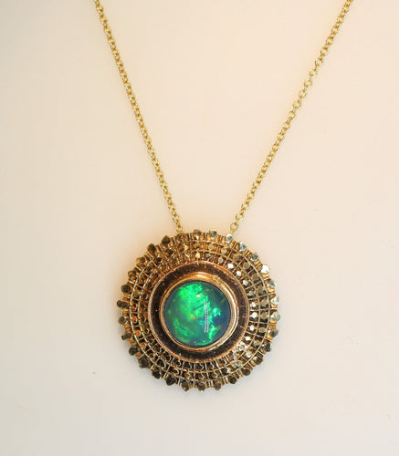 Green Opal Madallion Pendant 14k Gold Jewelry #208