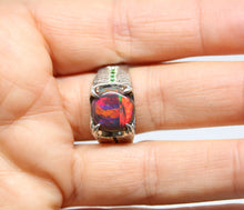 Load image into Gallery viewer, Black Opal Sterling Silver Ring - Unisex Jewelry #214