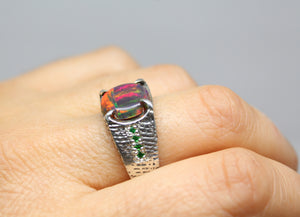 Black Opal Sterling Silver Ring - Unisex Jewelry #214