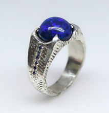 Load image into Gallery viewer, Black Blue Opal & Sapphire Sterling Silver Ring