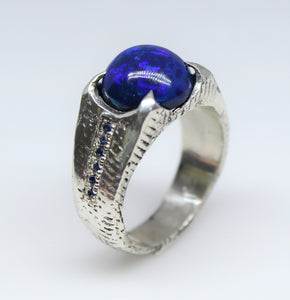 Black Blue Opal & Sapphire Sterling Silver Ring