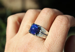 Black Blue Opal Sterling Silver Ring - Unisex Jewelry #215