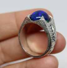 Load image into Gallery viewer, Black Blue Opal Sterling Silver Ring - Unisex Jewelry #215