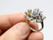 Load image into Gallery viewer, Black Opal & Gemstones Sterling Silver Ring - Handmade Jewelry #217