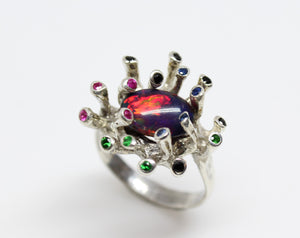 Black Opal & Gemstones Sterling Silver Ring - Handmade Jewelry #218