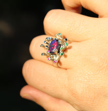Load image into Gallery viewer, Black Opal & Gemstones Sterling Silver Ring - Handmade Jewelry #218