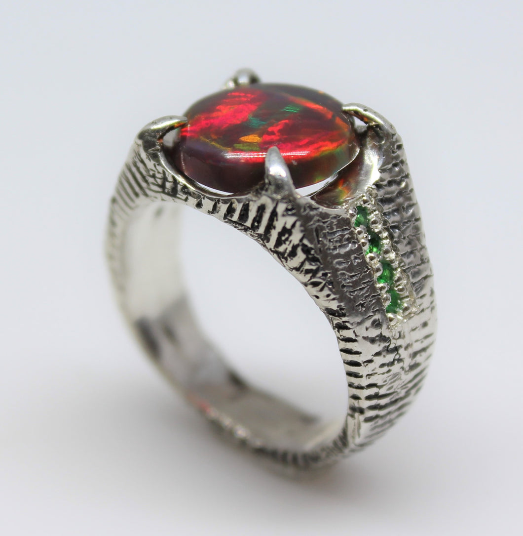Black Opal Sterling Silver Ring