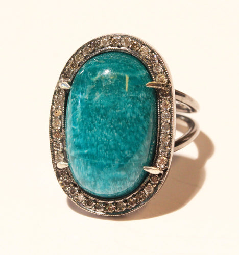 Green Amazonite Ring Diamond Accents  #1393