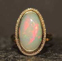 Load image into Gallery viewer, Opal & Diamond Ring 14k Yellow Gold -  Size 8 #1349