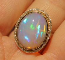 Load image into Gallery viewer, Opal & Diamond Ring 14k Yellow Gold -  Size 7.5 #1346