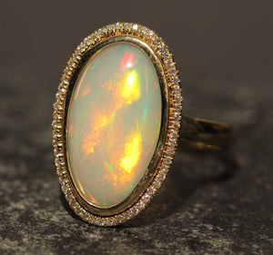 Opal & Diamond Ring 14k Yellow Gold -  Size 8 #1349
