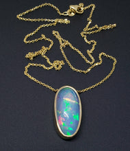 Load image into Gallery viewer, Natural Blue Green Opal Pendant 14k Yellow Gold Split Chain Necklace #145