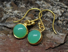 Load image into Gallery viewer, Chrysoprase Round Dangle Earrings- 24k Gold Plated  - Joy#199
