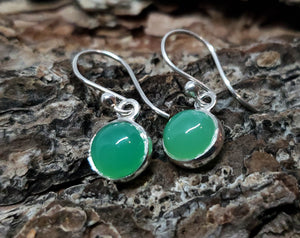 Chrysoprase Round Dangle Earrings- Sterling Silver - Joy#180