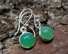 Load image into Gallery viewer, Chrysoprase Round Dangle Earrings- Sterling Silver - Joy#180