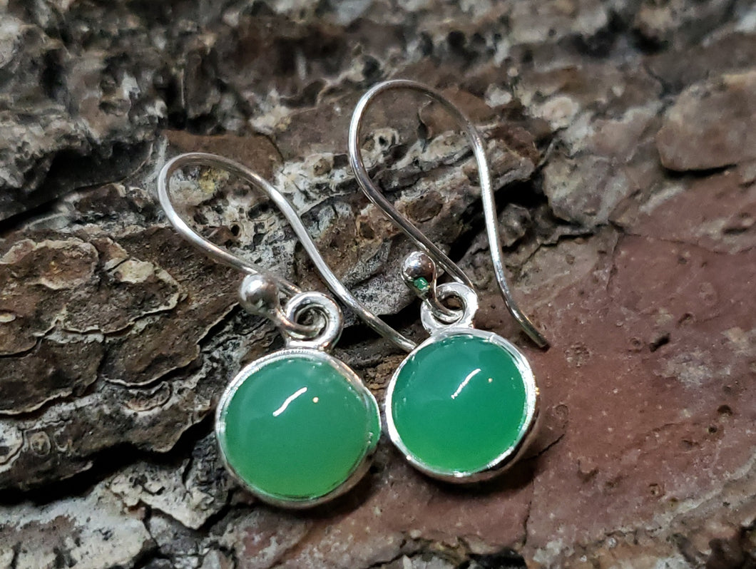 Chrysoprase Silver Earrings