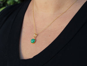 Green Chrysoprase Pendant- 24k Gold Plated - Joy#190