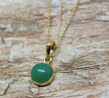 Load image into Gallery viewer, Green Chrysoprase Pendant- 24k Gold Plated - Joy#190