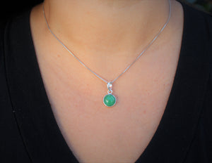 Chrysoprase 10mm Pendant- Sterling Silver - Joy#203