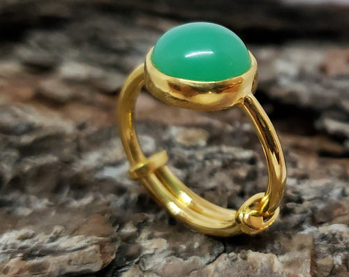 Green Chrysoprase Ring - 24k Gold Plated - Adjustable Size  - Joy#173
