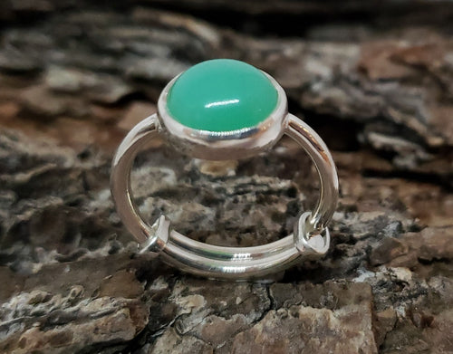 Green Chrysoprase Ring - Sterling Silver - Adjustable Size  - Joy#177