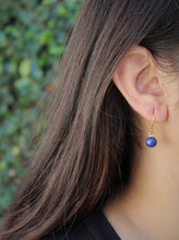 Load image into Gallery viewer, Blue Lapis Lazuli Round Dangle Earrings- 24k Gold Plated  - Joy#176