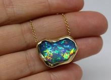Load image into Gallery viewer, Black Carved Opal Pendant 14k Yellow Gold Split Chain Necklace #219