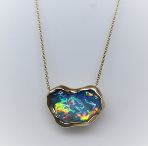 Black Carved Opal Pendant 14k Yellow Gold Split Chain Necklace #219