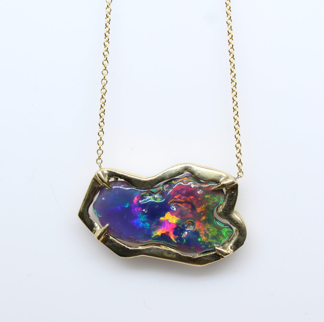 Black Carved Opal Pendant 14k Yellow Gold Split Chain Necklace #220