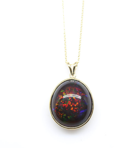 Black Opal Pendant 14k Yellow Gold Split Chain Necklace #221