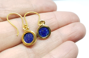 Blue Lapis Lazuli Round Dangle Earrings- 24k Gold Plated  - Joy#176
