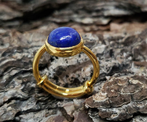 Blue Lapis Lazuli Ring - 24k Gold Plated - Adjustable Size  - Joy#174
