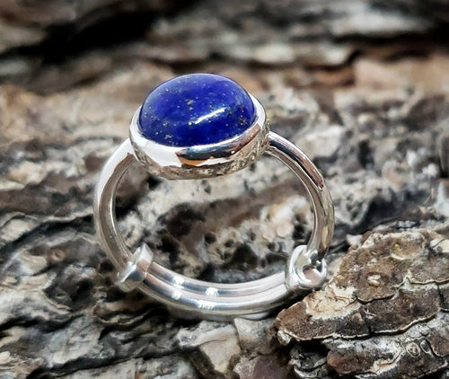 Blue Lapis Lazuli Ring - Sterling Silver - Adjustable Size  - Joy#178