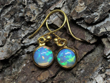 Load image into Gallery viewer, Opal Round Dangle Earrings- 24k Gold Plated  - Joy#198