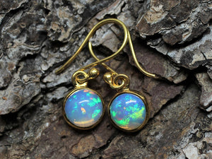 Opal Round Dangle Earrings- 24k Gold Plated  - Joy#198