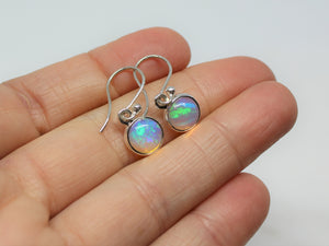 Opal Round Dangle Earrings- Sterling Silver - Joy#201