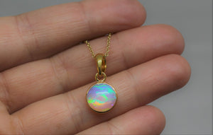 Round Opal 10mm Pendant- 24k Gold Plated - Joy#194
