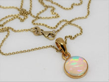 Load image into Gallery viewer, Round Opal 10mm Pendant- 24k Gold Plated - Joy#194