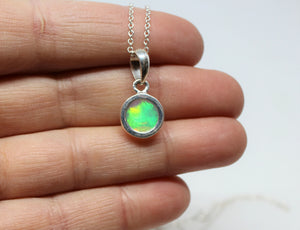Colorful Opal Pendant- Sterling Silver - Joy#207