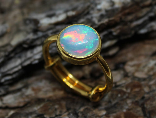 Natural Opal Ring - 24k Gold Plated - Adjustable Size  - Joy#189