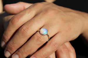 Natural Opal Ring - Sterling Silver - Adjustable Size  - Joy#188