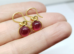 Round Ruby Dangle Earrings- 24k Gold Plated  - Joy#175