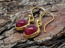 Load image into Gallery viewer, Round Ruby Dangle Earrings- 24k Gold Plated  - Joy#175
