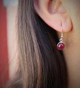 Ruby Round Dangle Earrings- Sterling Silver  - Joy#184