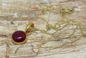 Round Ruby 10mm Pendant- 24k Gold Plated - Joy#193
