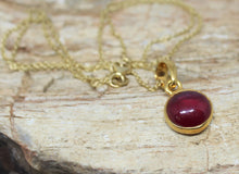 Load image into Gallery viewer, Round Ruby 10mm Pendant- 24k Gold Plated - Joy#193